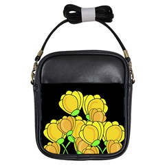 Yellow Tulips Girls Sling Bags by Valentinaart