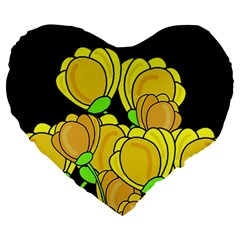 Yellow Tulips Large 19  Premium Heart Shape Cushions by Valentinaart