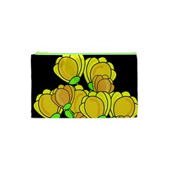 Yellow Tulips Cosmetic Bag (xs) by Valentinaart