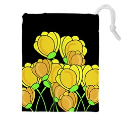 Yellow Tulips Drawstring Pouches (xxl) by Valentinaart