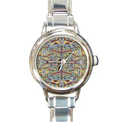 Multicolor Abstract Round Italian Charm Watch by dflcprintsclothing