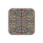 Multicolor Abstract Rubber Square Coaster (4 pack)