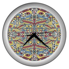 Multicolor Abstract Wall Clocks (silver)  by dflcprintsclothing