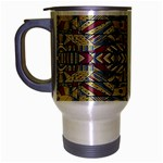 Multicolor Abstract Travel Mug (Silver Gray)