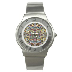 Multicolor Abstract Stainless Steel Watch by dflcprintsclothing