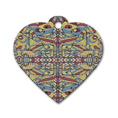 Multicolor Abstract Dog Tag Heart (one Side) by dflcprintsclothing