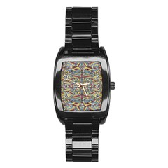 Multicolor Abstract Stainless Steel Barrel Watch