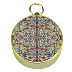 Multicolor Abstract Gold Compasses