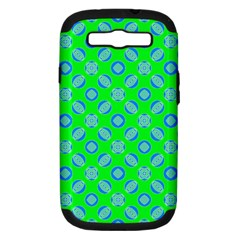Mod Blue Circles On Bright Green Samsung Galaxy S Iii Hardshell Case (pc+silicone) by BrightVibesDesign