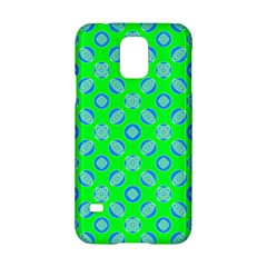 Mod Blue Circles On Bright Green Samsung Galaxy S5 Hardshell Case  by BrightVibesDesign
