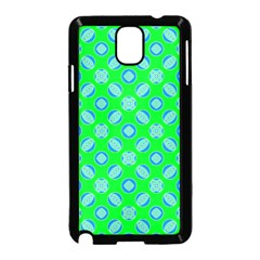 Mod Blue Circles On Bright Green Samsung Galaxy Note 3 Neo Hardshell Case (black) by BrightVibesDesign