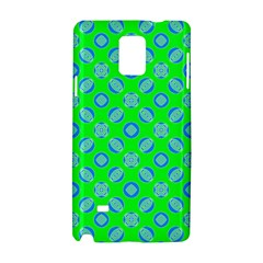 Mod Blue Circles On Bright Green Samsung Galaxy Note 4 Hardshell Case by BrightVibesDesign