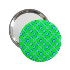 Mod Blue Circles On Bright Green 2 25  Handbag Mirrors by BrightVibesDesign