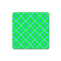Mod Blue Circles On Bright Green  by BrightVibesDesign