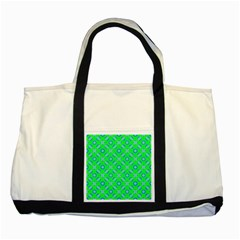 Mod Blue Circles On Bright Green Two Tone Tote Bag by BrightVibesDesign