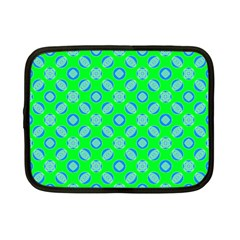 Mod Blue Circles On Bright Green Netbook Case (small)  by BrightVibesDesign