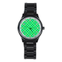 Mod Blue Circles On Bright Green Stainless Steel Round Watch by BrightVibesDesign