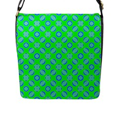 Mod Blue Circles On Bright Green Flap Messenger Bag (l)  by BrightVibesDesign