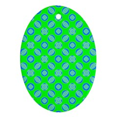 Mod Blue Circles On Bright Green Ornament (oval)  by BrightVibesDesign