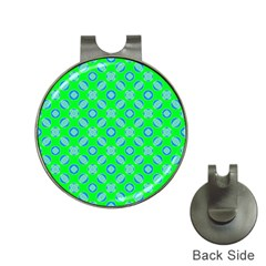 Mod Blue Circles On Bright Green Hat Clips With Golf Markers by BrightVibesDesign