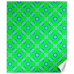 Mod Blue Circles On Bright Green Canvas 8  X 10  by BrightVibesDesign