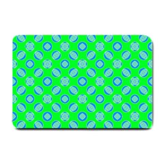 Mod Blue Circles On Bright Green Small Doormat  by BrightVibesDesign