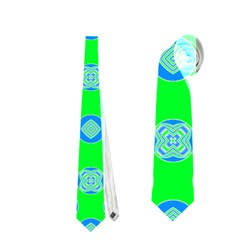 Mod Blue Circles On Bright Green Neckties (one Side)