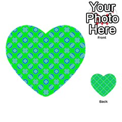 Mod Blue Circles On Bright Green Multi Purpose Cards (heart)  by BrightVibesDesign