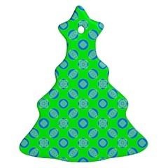 Mod Blue Circles On Bright Green Ornament (christmas Tree) by BrightVibesDesign