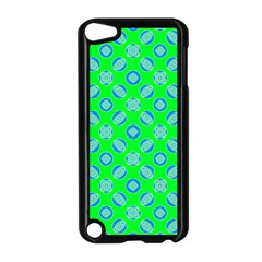 Mod Blue Circles On Bright Green Apple Ipod Touch 5 Case (black) by BrightVibesDesign