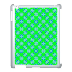 Mod Blue Circles On Bright Green Apple Ipad 3/4 Case (white) by BrightVibesDesign
