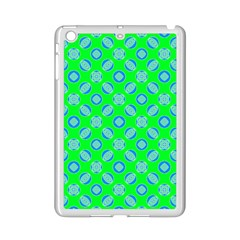 Mod Blue Circles On Bright Green Ipad Mini 2 Enamel Coated Cases by BrightVibesDesign