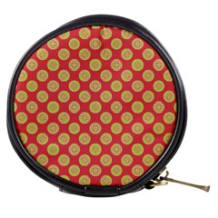 Mod Yellow Circles On Orange Mini Makeup Bags