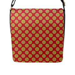 Mod Yellow Circles On Orange Flap Messenger Bag (l)  by BrightVibesDesign