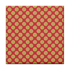 Mod Yellow Circles On Orange Tile Coasters by BrightVibesDesign