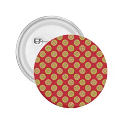 Mod Yellow Circles On Orange 2 25  Buttons by BrightVibesDesign