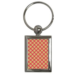 Mod Yellow Circles On Orange Key Chains (rectangle)  by BrightVibesDesign