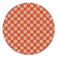 Mod Yellow Circles On Orange Magnet 5  (round) by BrightVibesDesign