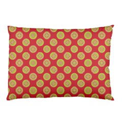 Mod Yellow Circles On Orange Pillow Case by BrightVibesDesign