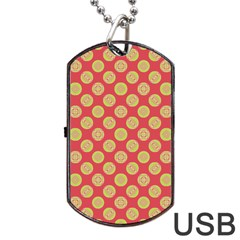 Mod Yellow Circles On Orange Dog Tag Usb Flash (two Sides)  by BrightVibesDesign