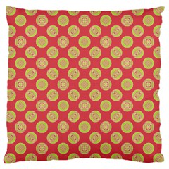 Mod Yellow Circles On Orange Large Cushion Case (two Sides) by BrightVibesDesign