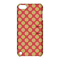 Mod Yellow Circles On Orange Apple Ipod Touch 5 Hardshell Case With Stand by BrightVibesDesign