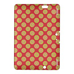 Mod Yellow Circles On Orange Kindle Fire Hdx 8 9  Hardshell Case by BrightVibesDesign