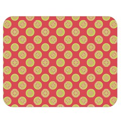 Mod Yellow Circles On Orange Double Sided Flano Blanket (medium)  by BrightVibesDesign