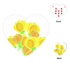 Yellow Flowers Playing Cards (heart)  by Valentinaart