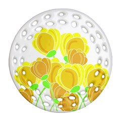 Yellow Flowers Round Filigree Ornament (2side) by Valentinaart