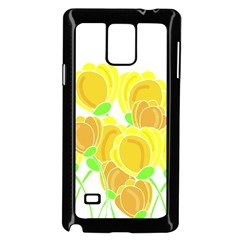Yellow Flowers Samsung Galaxy Note 4 Case (black) by Valentinaart