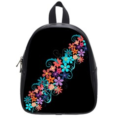 Coorful Flower Design On Black Background School Bags (small)  by GabriellaDavid
