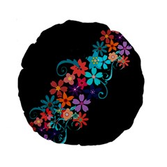 Coorful Flower Design On Black Background Standard 15  Premium Round Cushions by GabriellaDavid