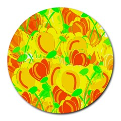 Yellow Garden Round Mousepads by Valentinaart